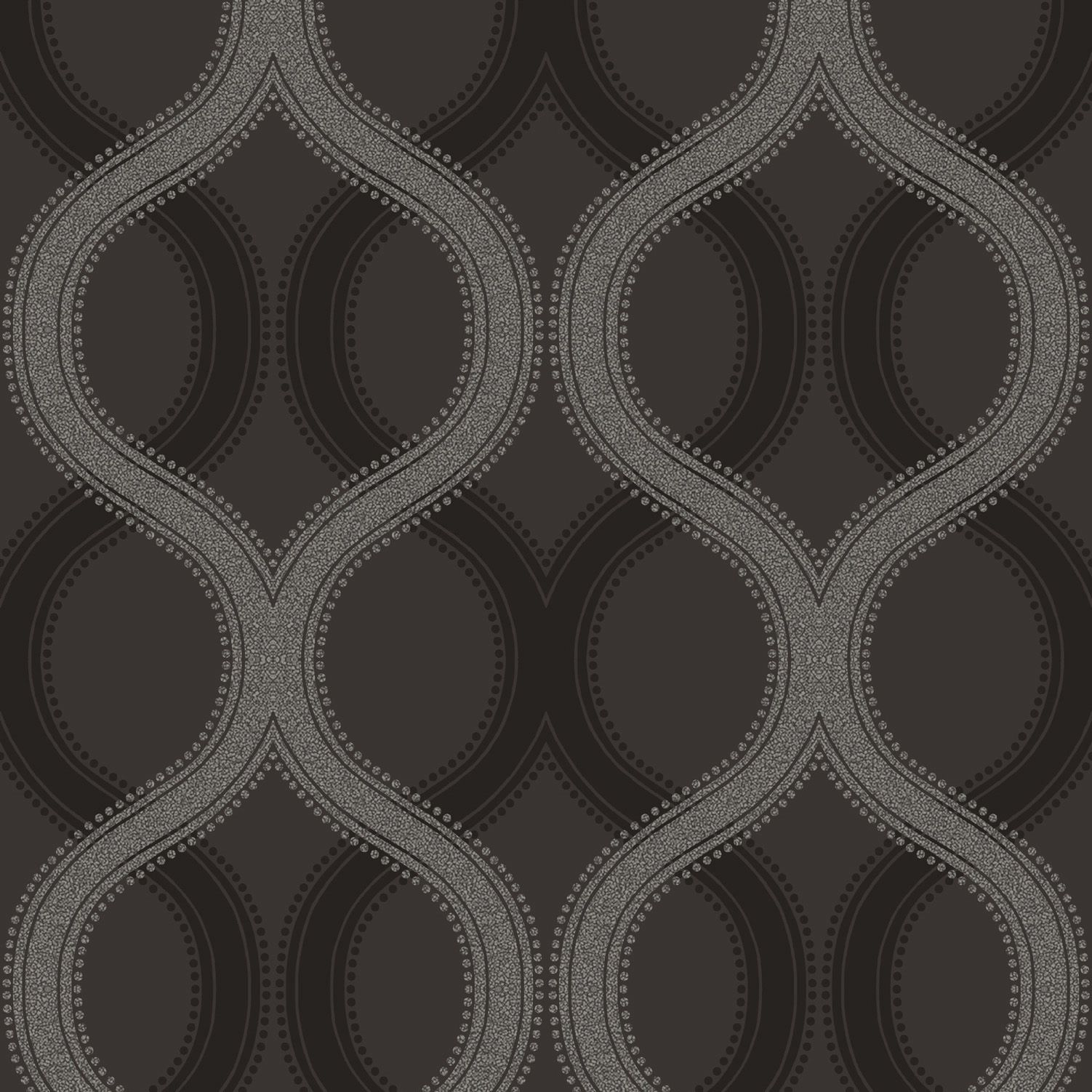 solaris black grey statement beads geometric wallpaper
