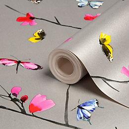 Statement Mazarine Silver Effect Butterflies Silver Effect