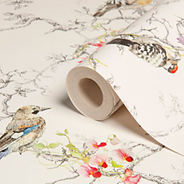 Statement Ornithology Birds Metallic Effect Wallpaper