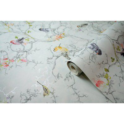 Statement ornithology blue birds wallpaper departments for B q living room curtains