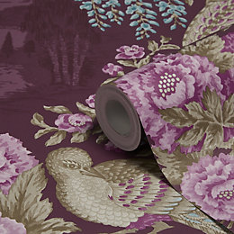 Holden Décor Sekiya Purple Floral Wallpaper