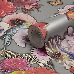 Holden Décor Madagascar Silver Floral Wallpaper