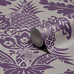 Holden Décor Bengal Purple Damask Wallpaper