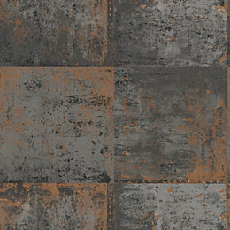 Black & Copper Distressed Metal Panel Wallpaper