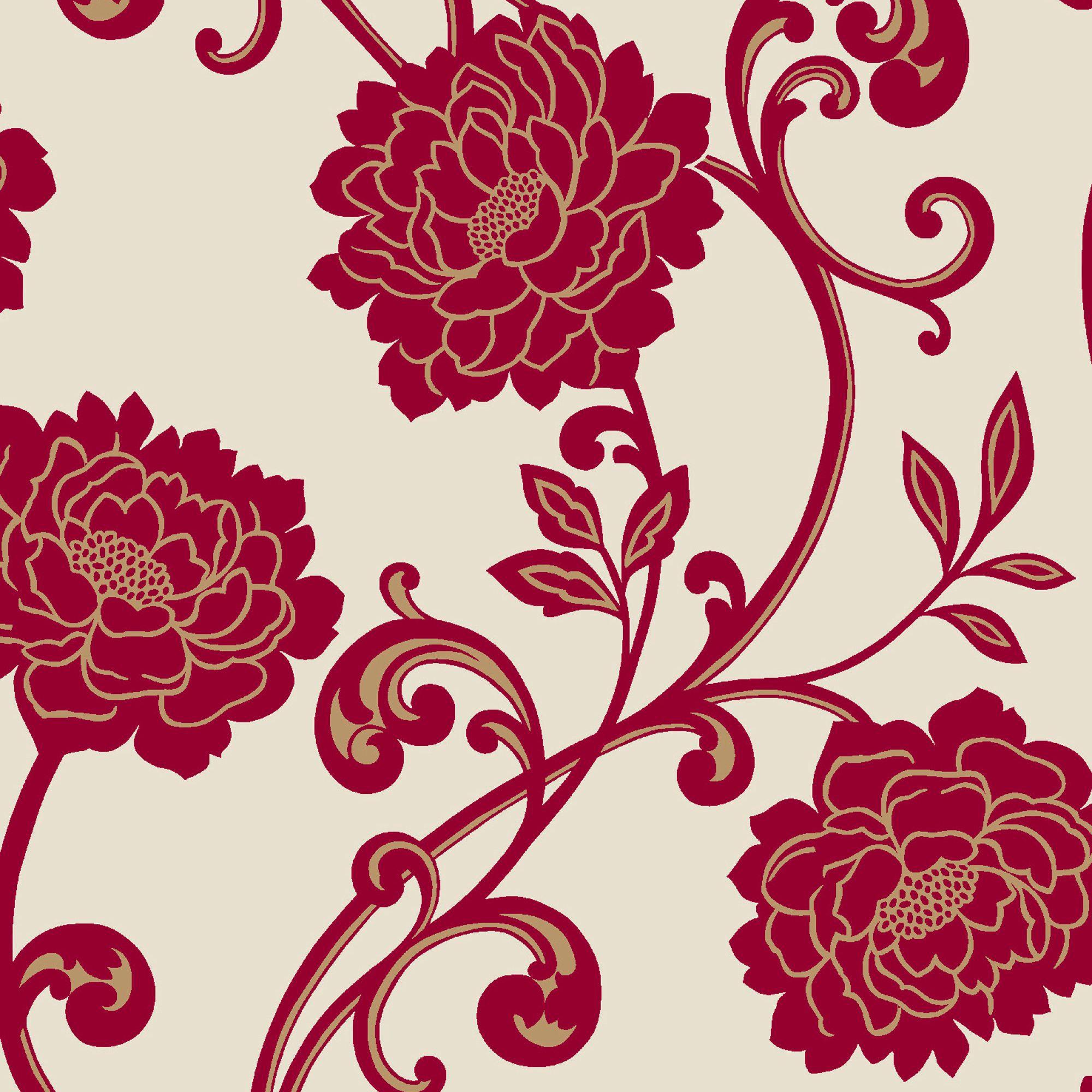 Statement alanis cream red floral wallpaper departments diy at b q - Cream flock wallpaper ...