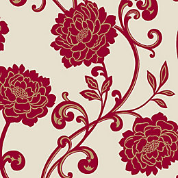 Statement Alanis Cream & Red Floral Wallpaper