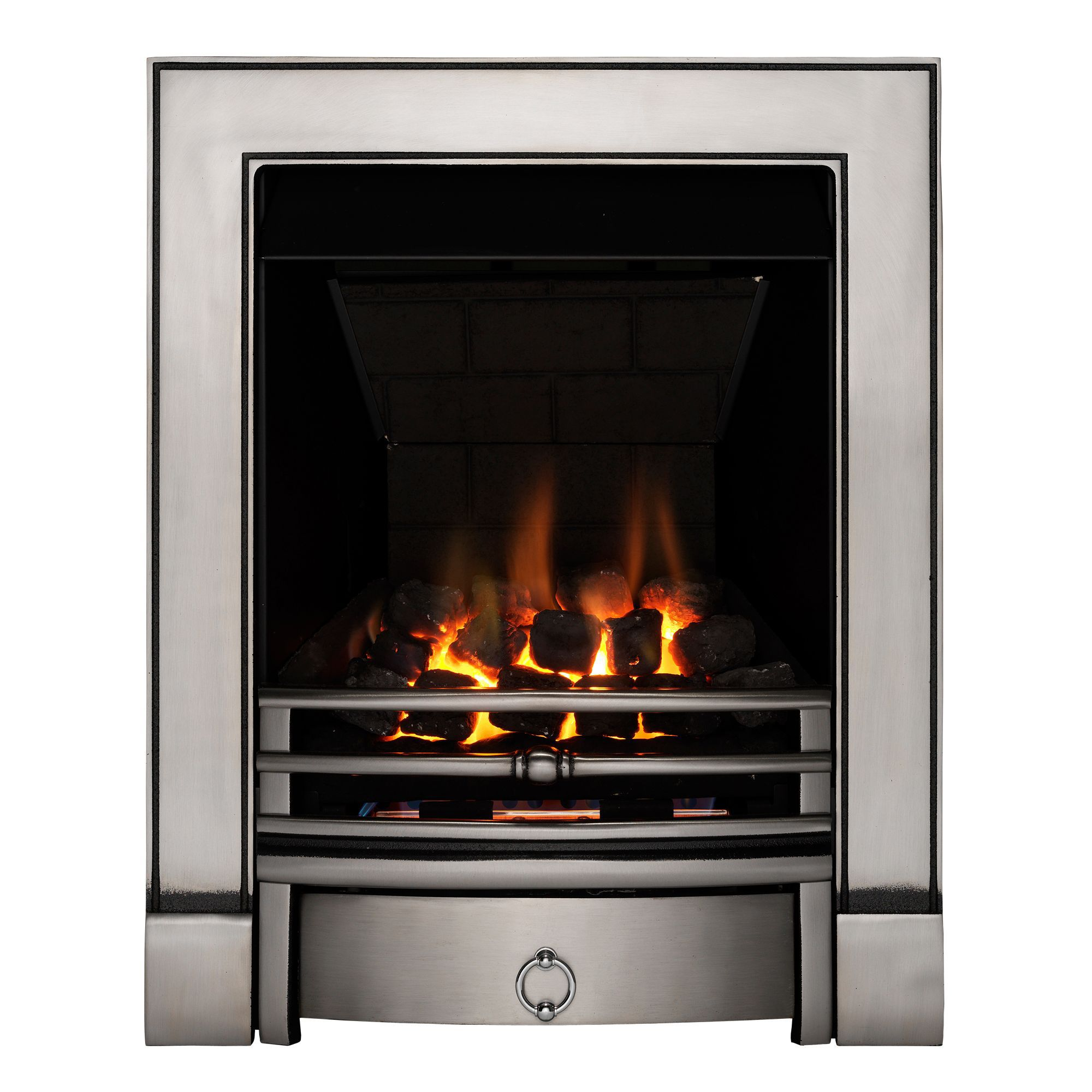 focal point soho multi flue satin chrome manual control inset gas