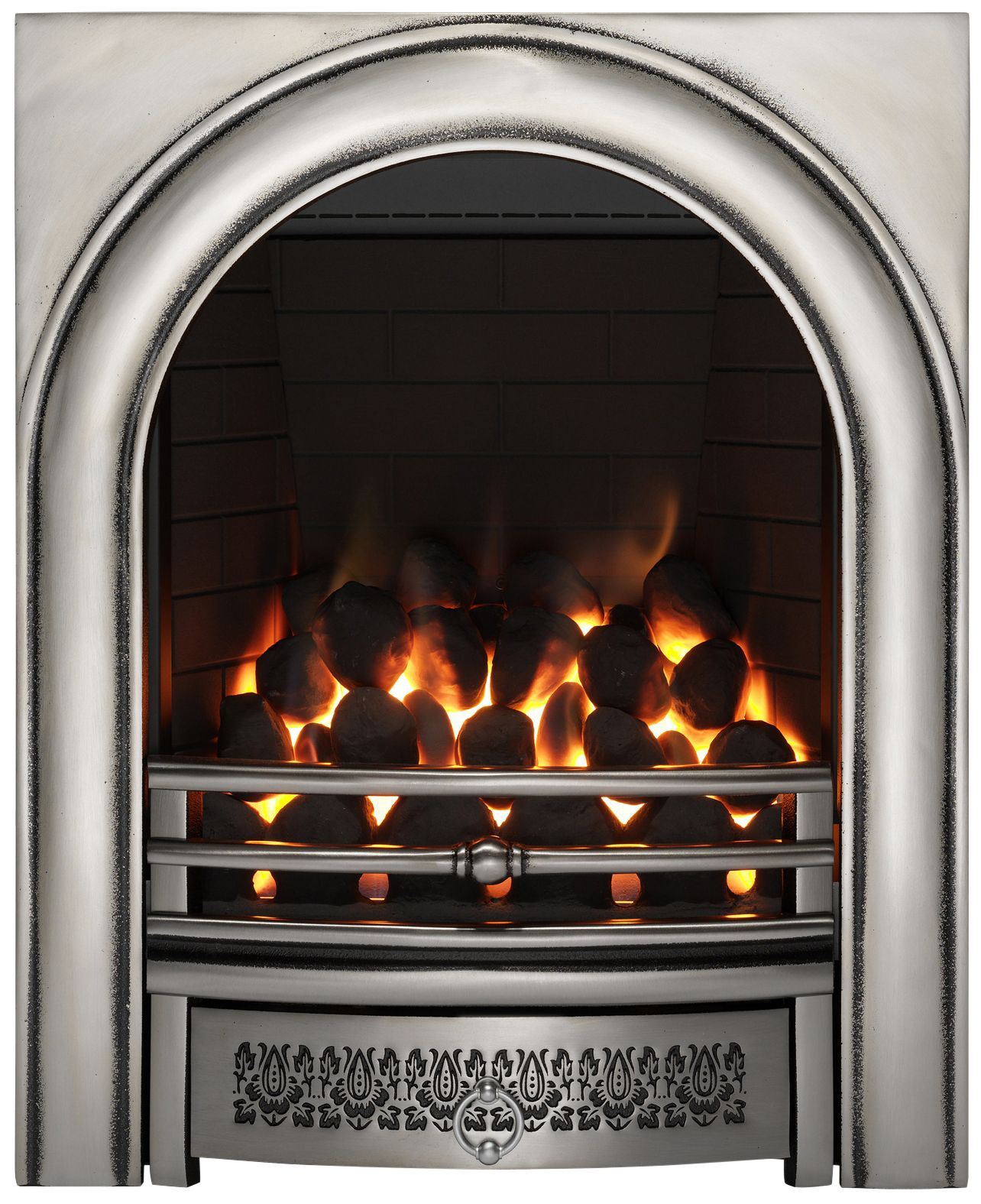 focal point arch satin chrome remote control inset gas fire