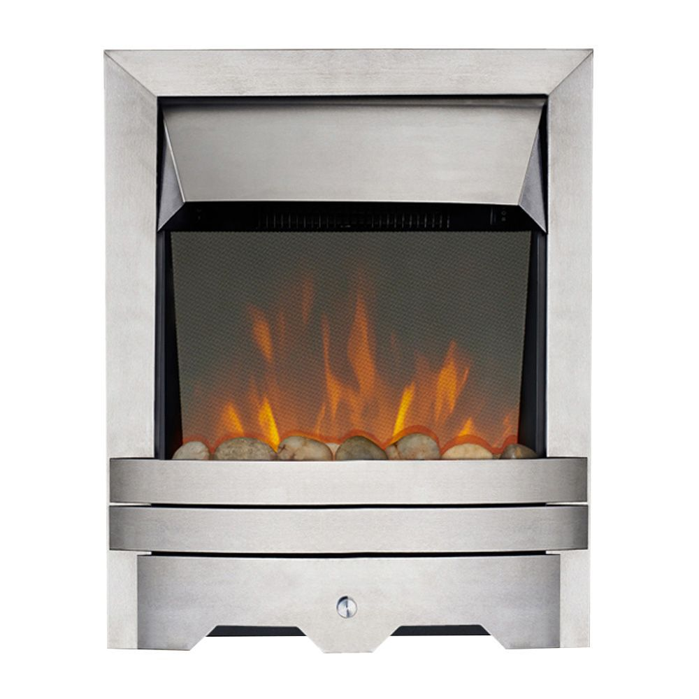Focal Point Electric Fire: Focal Point Lulworth Brushed Stainless Steel LED