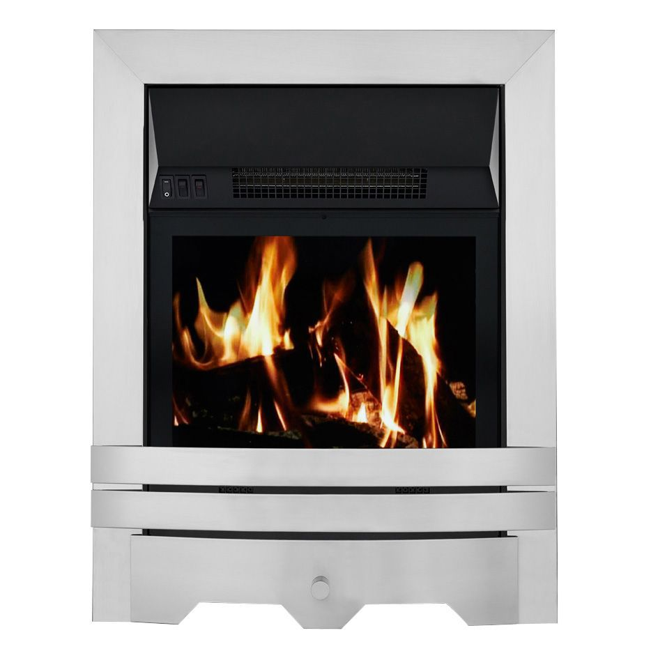 Focal Point Electric Fire: Focal Point Lulworth Brushed Stainless Steel LCD Remote