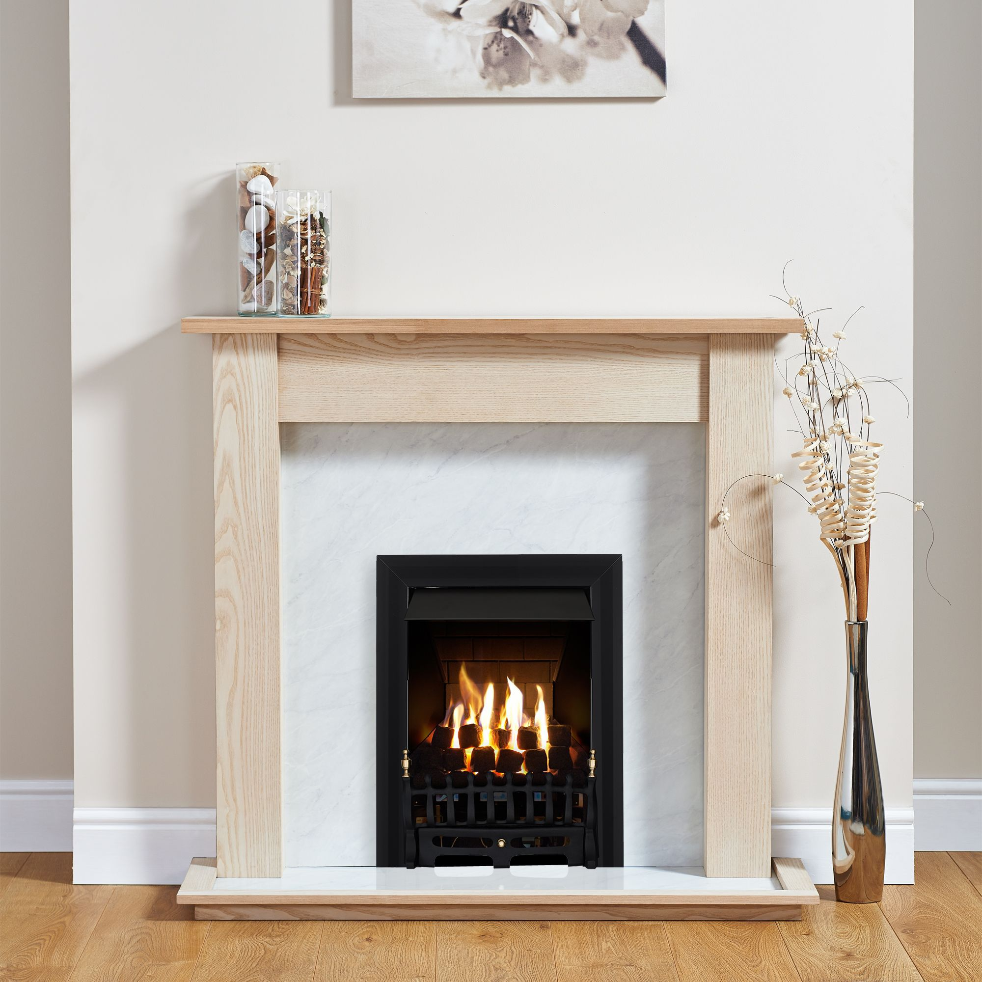 Focal Point Blenheim Black Inset Gas Fire Suite