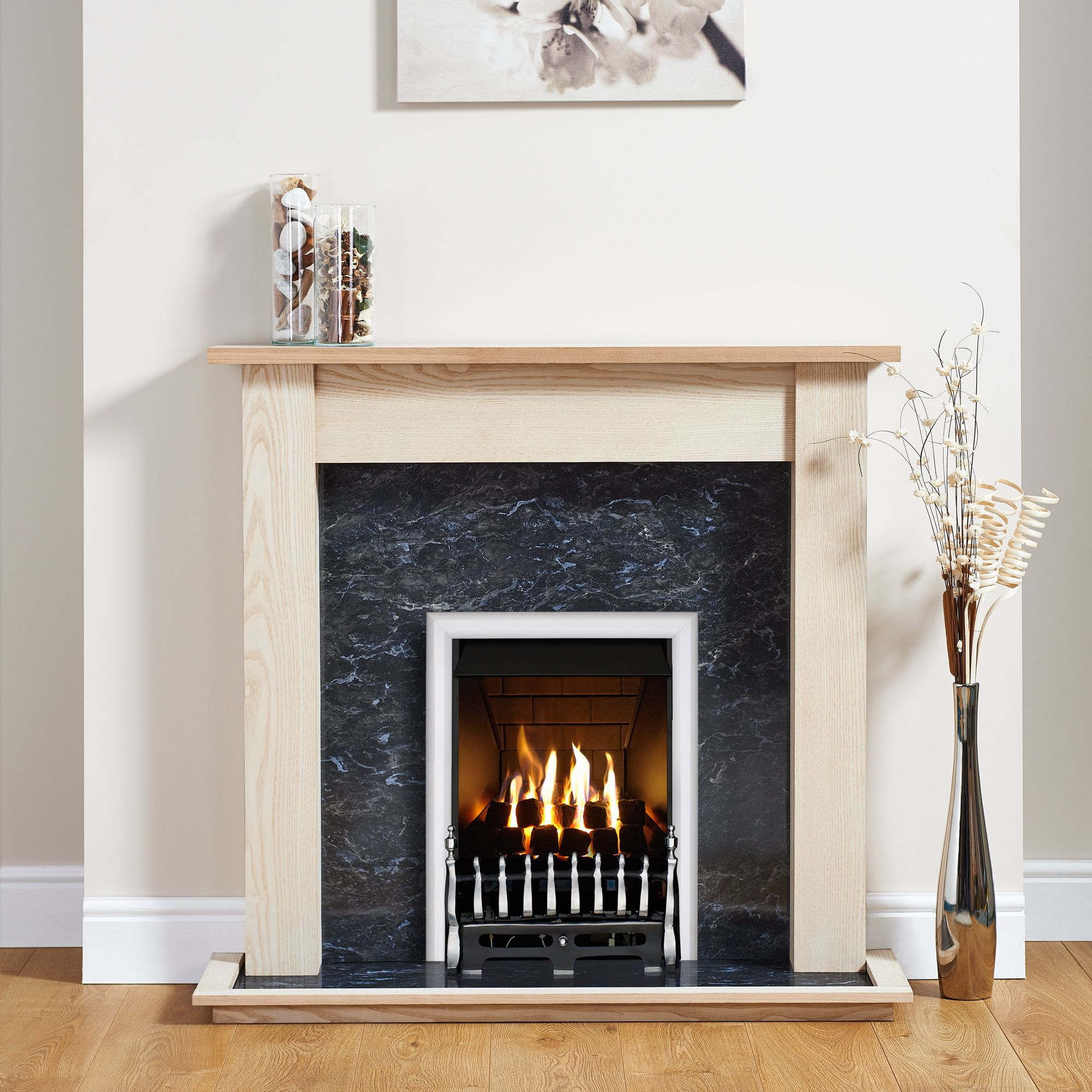 Focal Point Blenheim Chrome Inset Gas Fire Suite | Departments | DIY at B&Q