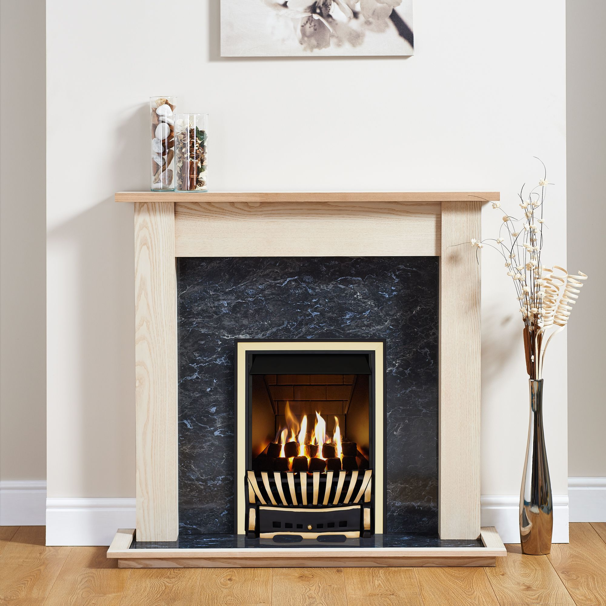 Focal Point Elegance Brass & Black Inset Gas Fire Suite