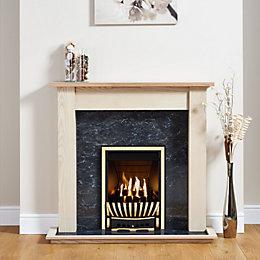 Elegance Antique Brass Inset Gas Fire Suite