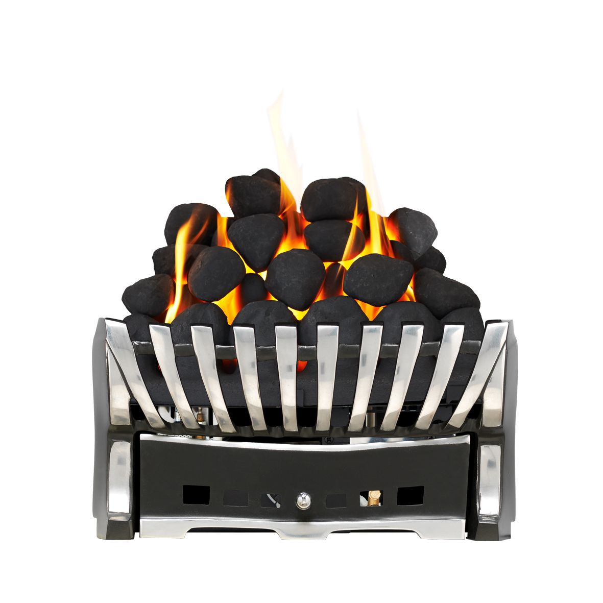 Focal Point Elegance Chrome & Black Manual Control Inset Gas Fire Tray