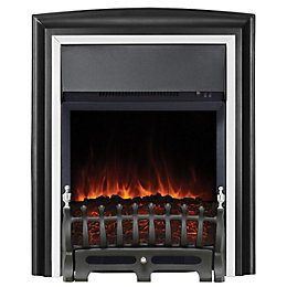 Lycia Black with Chrome LED Freestanding Electric Fire