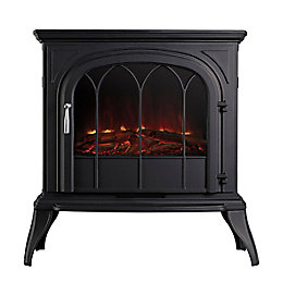 Leirvik Black LED Remote Control Freestanding Electric Stove