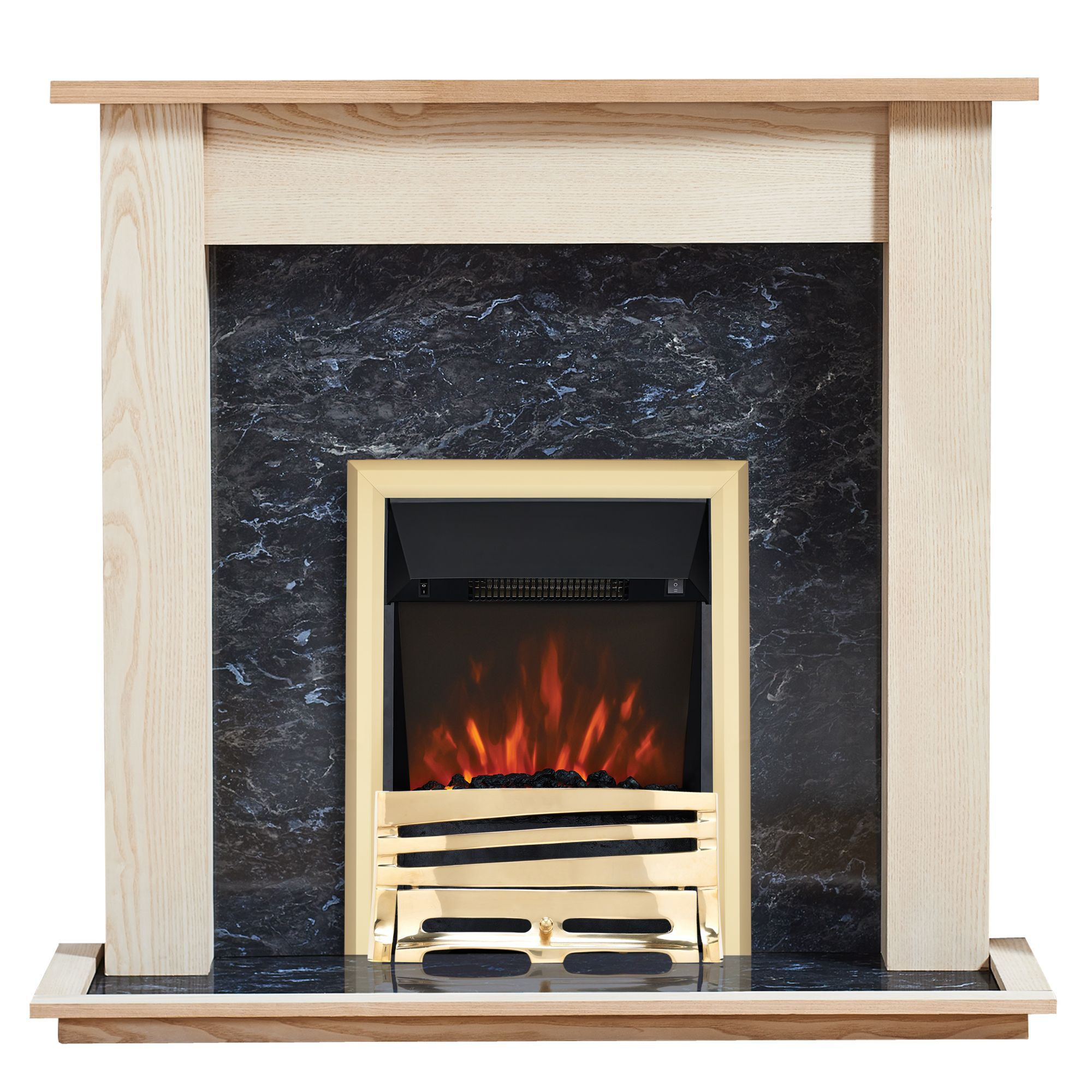 Focal Point Horizon Kingswood Black Led Remote Control Electric Fire Suite