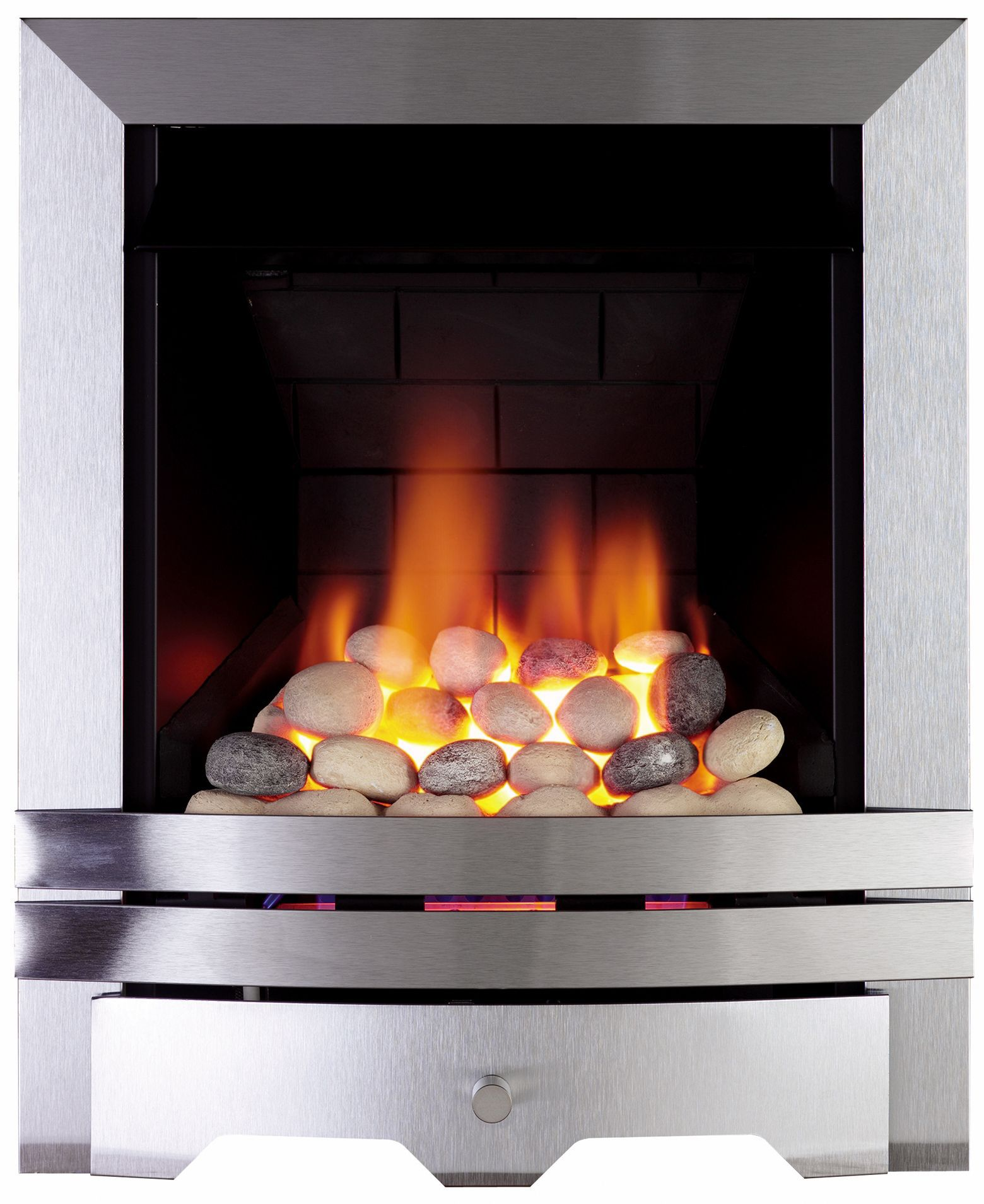 Focal Point Lulworth Brushed Stainless Steel Manual Control Inset Gas Fire Departments