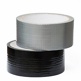 Black & Silver Gaffer Tape (W)42mm, Pack of