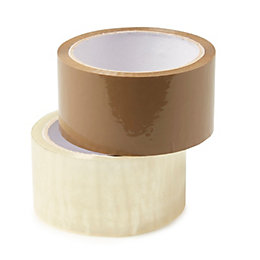Packaging Tape (L)50m (W)48mm (T)4mm, Pack of 2