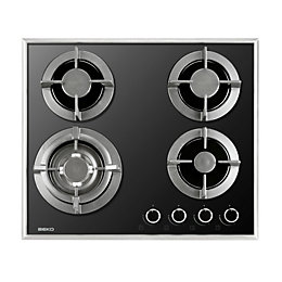 Beko QHGW6422B 4 Burner Black Cast Iron Gas