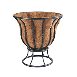 Blacksmith Wrought Iron Effect Black Curved Planter (Dia)355mm
