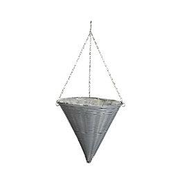 Gardman Rattan Effect Slate Grey Hanging Basket 14
