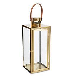 Brushed Brass Effect Lantern, Large