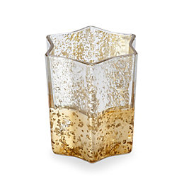 Gold & Silver Mottled Effect Star Glass Candle