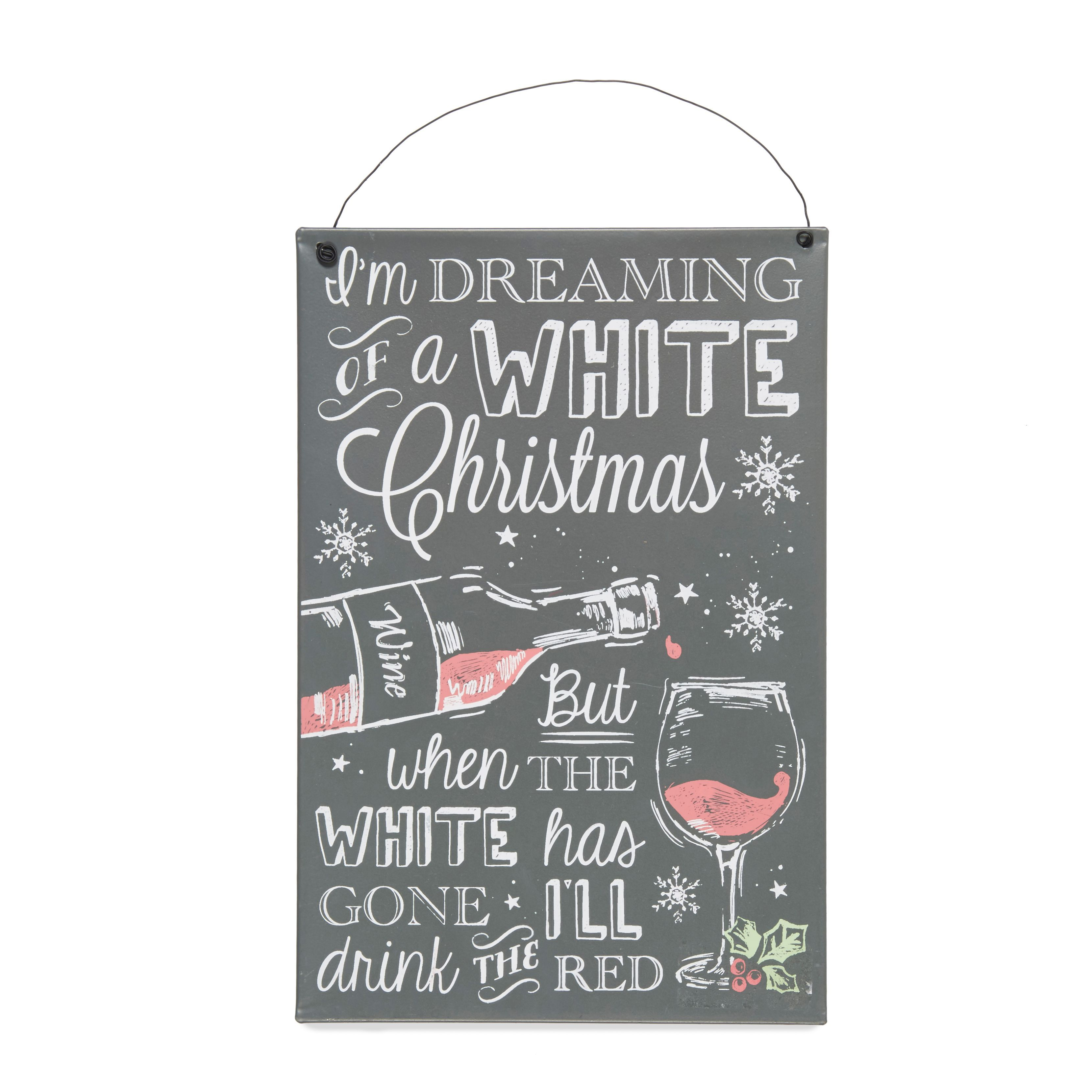 White Christmas Metal Hanging Plaque
