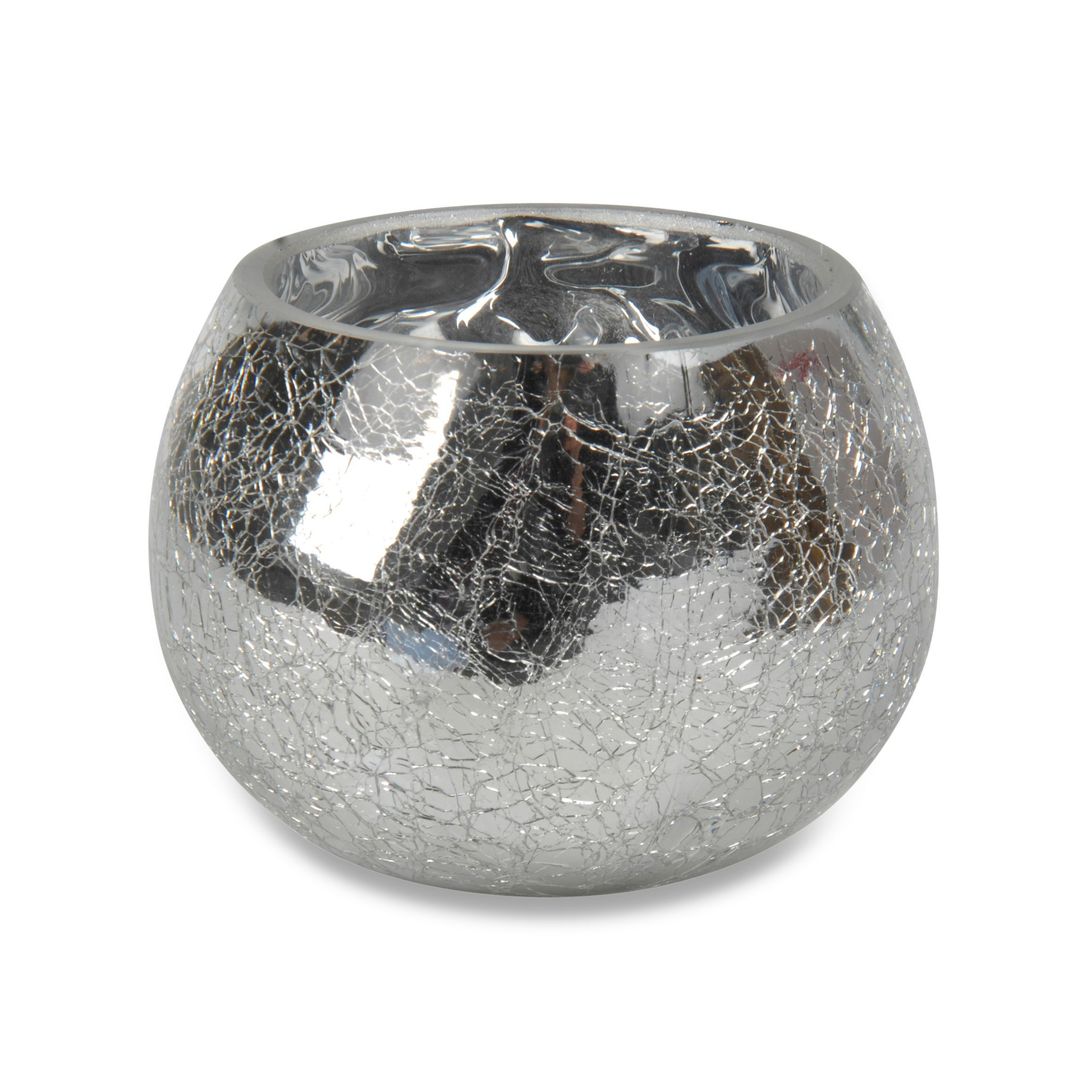 Silver Effect Crackle Glass Tealight Candle Holder, Large