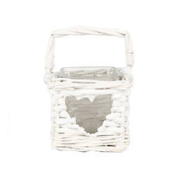 White Glass & Willow Candle Lantern, Large
