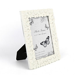 Cream Butterfly Resin Picture Frame (H)23cm x (W)18cm