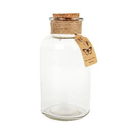 Clear Cork & Glass Decorative Bottle, Large