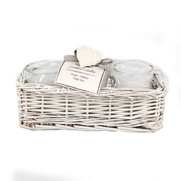 Cream Glass & Wicker Jars In Wicker Basket