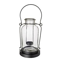 Black Glass Bottle Tealight Holder