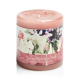 Bloom Rose & Hydrangea Petal Pillar Candle