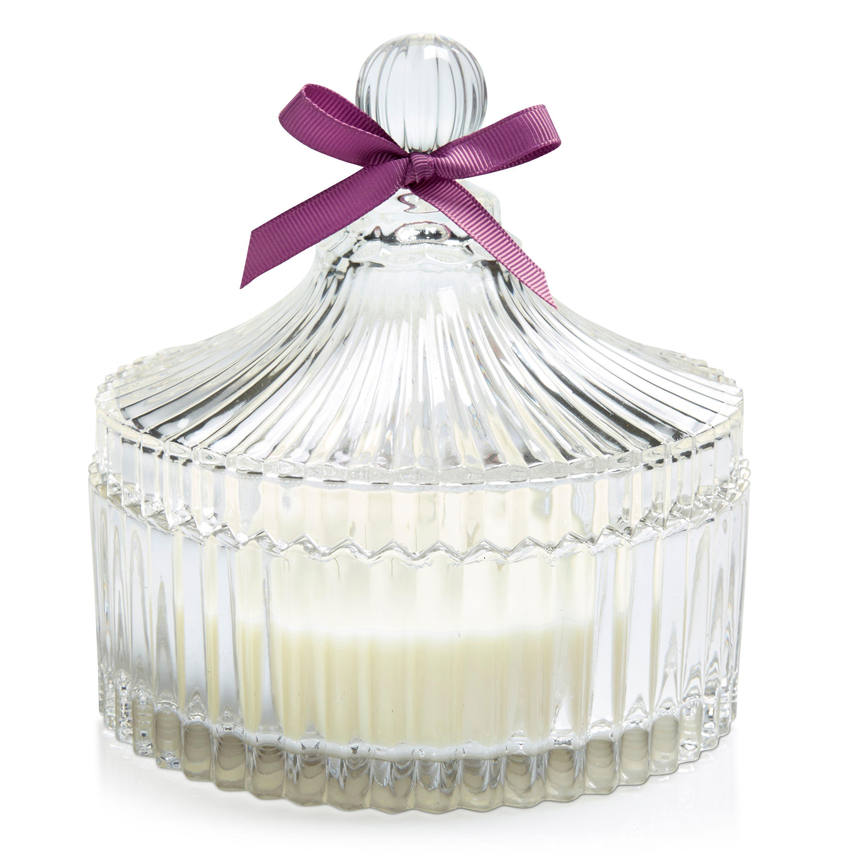 Purple Trinket Glass & Wax Trinket Filled Candle