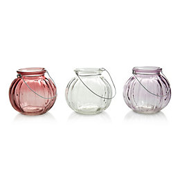 Multicolour Ribbed Glass Tealight Holders, Small
