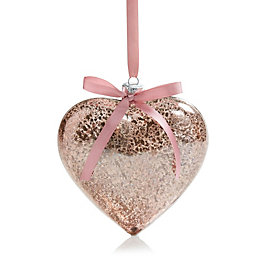 Pink Glass Hanging Heart, Small