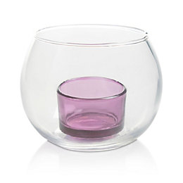 Purple Double Glass Tealight Holder