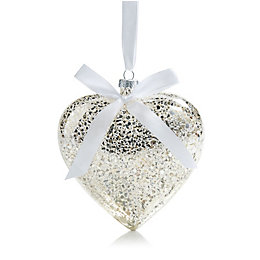 Silver Effect Glass Hanging Heart, Small
