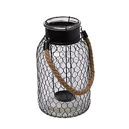 Black Chicken Wire Glass & Metal Candle Holder