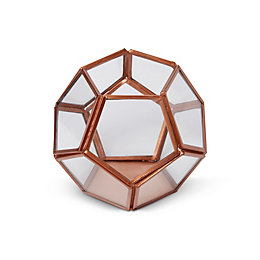 Copper Hexagon Glass & Iron Terrarium