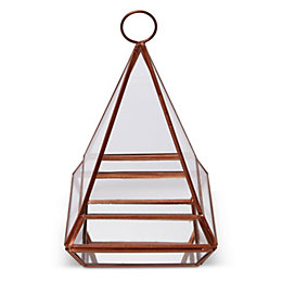 Copper Pyramid Glass & Iron Terrarium
