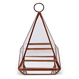 Copper Pyramid Glass & Iron Terrarium