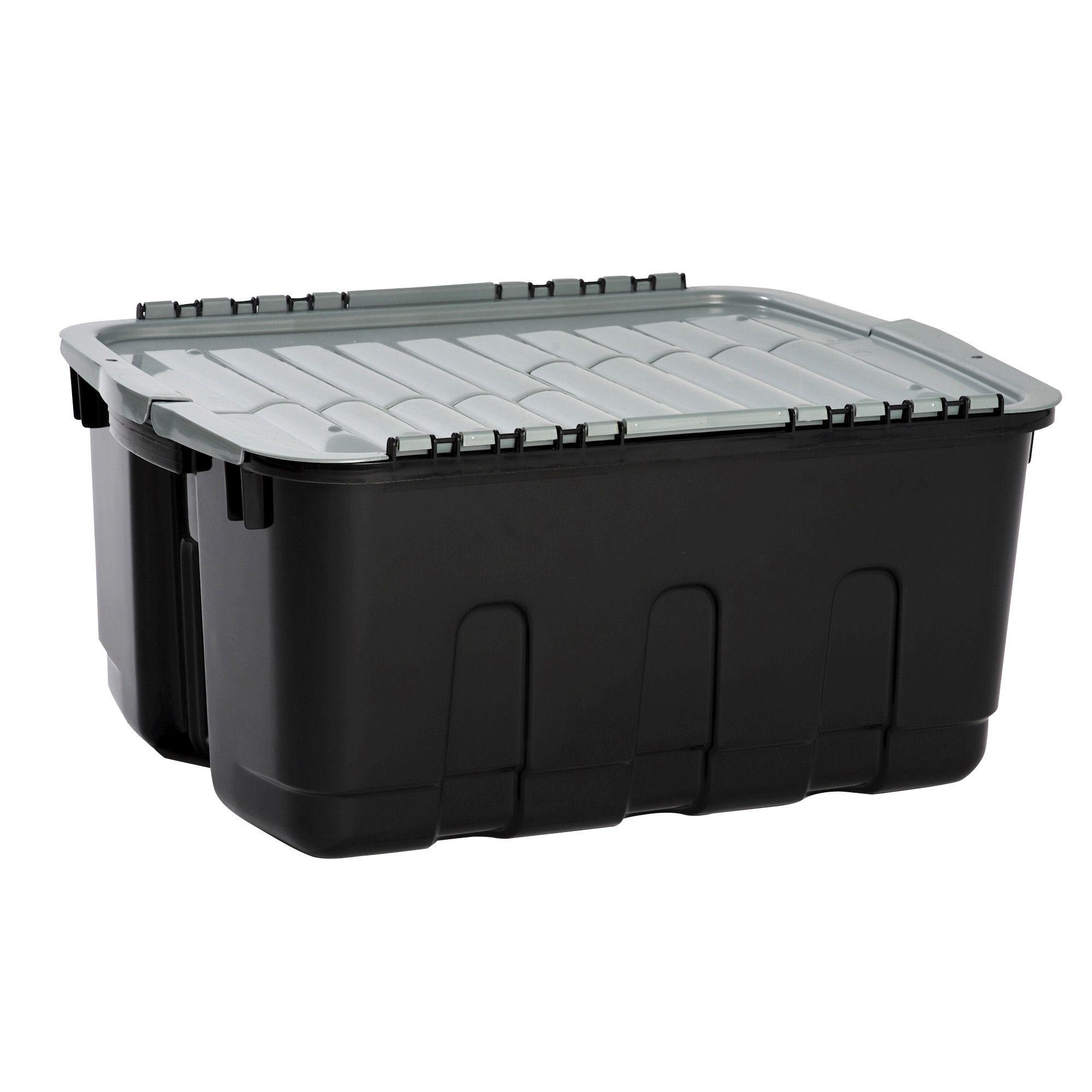 curver black grey 48l plastic storage box departments diy at b q. Black Bedroom Furniture Sets. Home Design Ideas