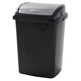 Curver Black & Grey Plastic Kitchen Swing Bin
