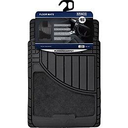Kraco Rubber & Carpet Black Car Mats, Pack